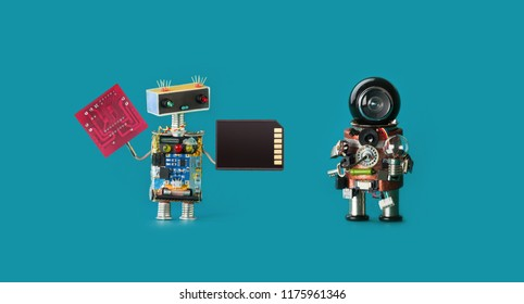 Robotics 4.0 industrial revolution concept. Two robots with circuit board memory card and light bulb on virid color background. Isolated.