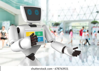 Robotics Trends technology business concept. Autonomous personal assistant robot for navigation direction and items in museum blur background.