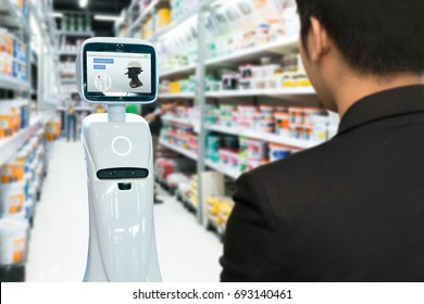 Robotics Trends technology , smart retail business concept. Autonomous personal assistant robot for navigation customer to search items in construction mall.