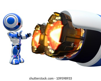 Robots can do things humans can't. This little guy is warming his hands by jet engine!