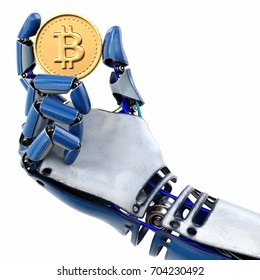 Robot's hand holding golden Bitcoin isolated on white background. 3d rendering.