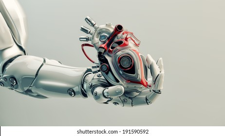 Robot's hand holds robotic heart