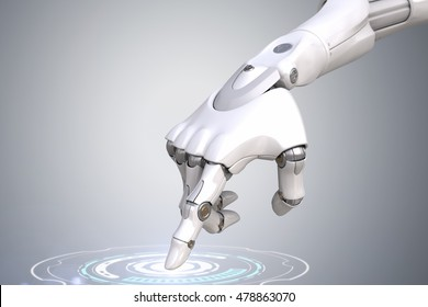 Robot's hand is pushing the button.3D illustration. Clipping path included