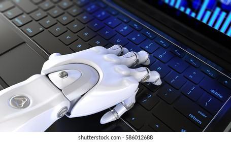 Robot's hand types on keyboard. 3D illustration. 3D rendering