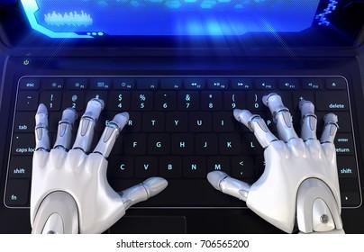 Robot's hands typing on keyboard. 3D illustration