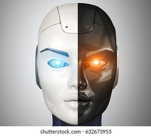 Robot's head close up. 3D illustration