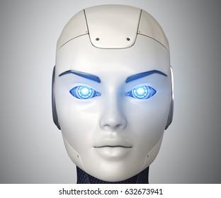 Robot's head close up,3D illustration