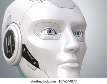 Robot's head close-up. 3D illustration