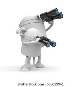 Robots looks in binocular. Maybe it's a father(mother) and son. 3d illustration