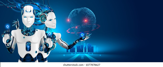 Robots man and woman with artificial intelligence working with virtual interface in cybernetic reality. Machine, learning. AI control global business process. Futuristic 3d  illustration concept