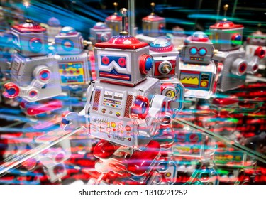 Robots with reflections and various colored lights