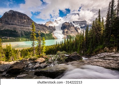 Robson Peak, Berg Lake, and Berg Glacier from Toboggan Falls in Robson Provincial Park, Canada.