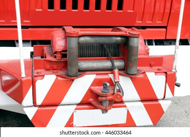 robust hoist with steel ropeinstalled on a big fire truck