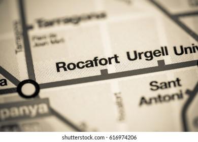 Rocafort Station. Barcelona Metro map.