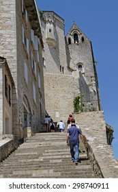 ROCAMADOUR, FRANCE, June 22, 2015 : Rocamadour attracts visitors for its setting in a gorge above a the river Dordogne, and for its historical monuments and sanctuary of the Blessed Virgin Mary