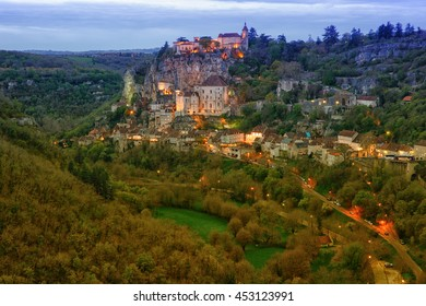 Rocamadour french village build on a cliff near Sarlat, France before sunset