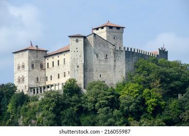 Rocca Borromeo fortress at Angera on lake maggiore, Italy