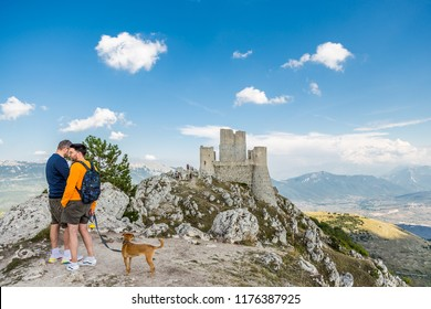 Rocca Calascio, Abruzzo, Italy - 24 August 2018 - . The highest fortress in the Apennines mountains. Location of famous films like The Name of the Rose and Ladyhawke