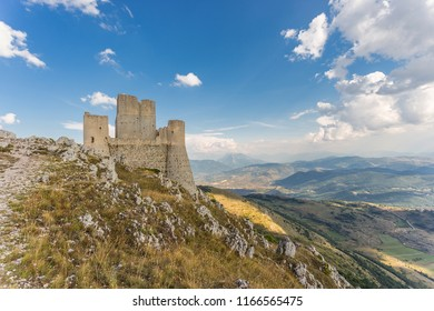 Rocca Calascio, Abruzzo, Italy. The highest fortress in the Apennines mountains. Location of famous films like The Name of the Rose and Ladyhawke
