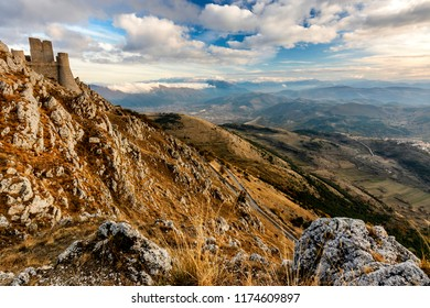 Rocca Calascio Fortress at the Sunset Time - A Medieval Castle Built over the Peak of Mountain in Abruzzo - Italy