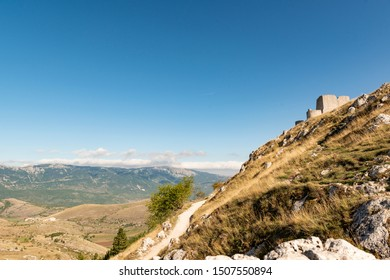 Rocca Calascio is a mountaintop fortress At an elevation of 1,460 metres