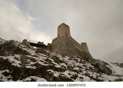 Rocca Calascio, mountaintop fortress in the Province of L'Aquila in winter with snow - Abruzzo - Italy.