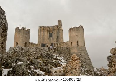 Rocca Calascio in winter with snow - Ancient fortress in Abruzzo - Italy