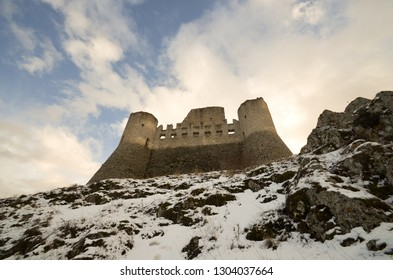 Rocca Calascio in winter with snow - an ancient fortress in Abruzzo - Italy