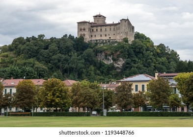 Rocca di Angera castle, view out off Angera town's embankment of lake Maggiore, Italy