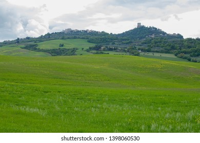 Rocca d'Orcia and Castiglione d'Orcia. Val d'Orcia landscape in spring. Hills of Tuscany. Val d'Orcia, Siena, Tuscany, Italy - May, 2019.