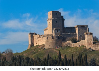 rocca maggiore has dominated the citadel of Assisi for more than eight hundred years Umbria in Italy It is surrounded by hills, olive groves and vineyards