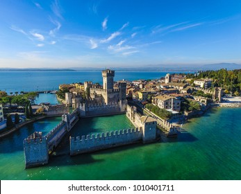 Rocca Scaligera Castle in Sirmione. Garda Lake - Italy view by Drone