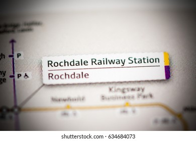 Rochdale Railway Station Station. Manchester Metro map.