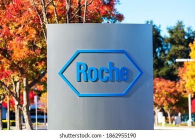 Roche sign, logo on campus of Roche Diagnostics division of Hoffmann-La Roche - San Jose, California, USA - 2020