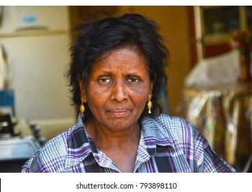Roche Terre / Mauritius - October 22 2017: Portrait of a local woman at Roche Terre