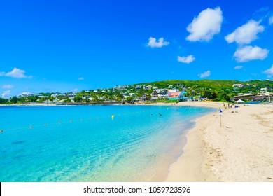 Roches noires beach at Saint Gilles les Bains town,  Reunion Island, Africa