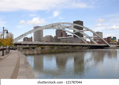 Rochester Downtown Skyline and bridge, Upstate New York, USA