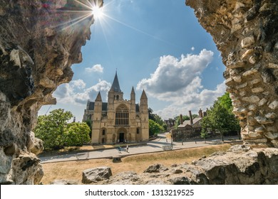 Rochester, England - July 2018 : View of the magnificent Rochester Cathedral through the arched castle window, Kent, UK