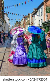 Rochester, Kent, UK. 03rd June, 2018.  Credit: Picture That / Alamy Live News. Participants in Victorian costume at the anual Rochester Dickens festival