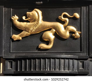 ROCHESTER, KENT, UK - FEBRUARY 17, 2018. A symbol on the The Golden Lion fascia, a Wetherspoon group pub and hotel at Rochester, a small coastal town in the county of Kent, England, UK.