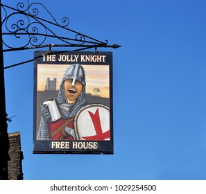 ROCHESTER, KENT, UK - FEBRUARY 17, 2018. A suspended sign at The Jolly Knight pub in Rochester, a small coastal town in the county of Kent, England, UK.
