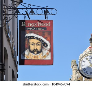 ROCHESTER, KENT, UK - FEBRUARY 17, 2018. A suspended sign at the Kings Head Hotel in Rochester, a small coastal town in the county of Kent, England, UK.