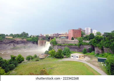 ROCHESTER, NEW YORK - AUGUST 2, 2014: A view of the Genesee River Falls in Rochester, New York.