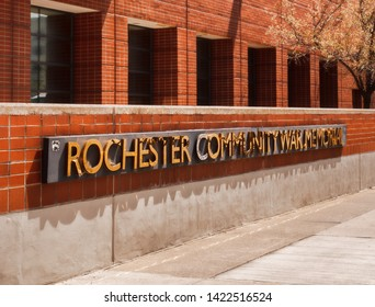 Rochester, New York, USA. June 11, 2019. The exterior of the Rochester Community War Memorial, also known as the Blue Cross Arena, a sports and concert venue in downtown Rochester, NY