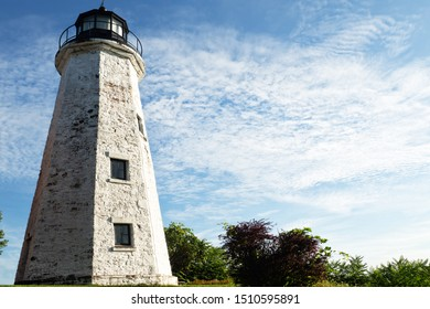 Rochester, New York, USA. September 20, 2019. View of the Charlotte-Genesee Lighthouse, built in 1822, in Charlotte, a suburb of Rochester, near the shores of Lake Ontario and still in use