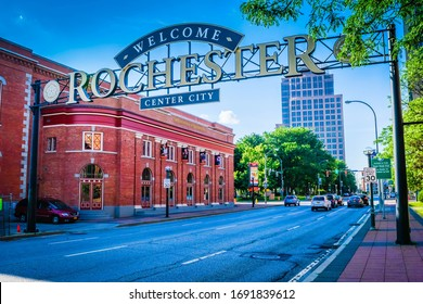 Rochester, NY - July 16, 2017: Welcome to Rochester New York sign in downtown Rochester.