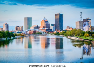 Rochester, NY - September 27, 2017: Skyline of Rochester New York
