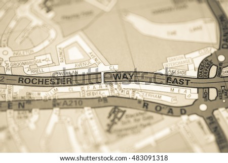 East London Uk Map.Rochester Way East London Uk Map Stock Photo Edit Now 483091318