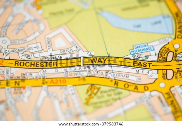 East London On Map.Rochester Way East London Uk Map Stock Photo Edit Now 379583746
