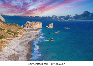Rock Aphrodite in Cyprus. Landscape with beach of Cyprus. Petra Tou Romiou bay. Beach with rocks near village of Kouklia. Travels in Cyprus. Aphrodite's stone view from a quadcopter.